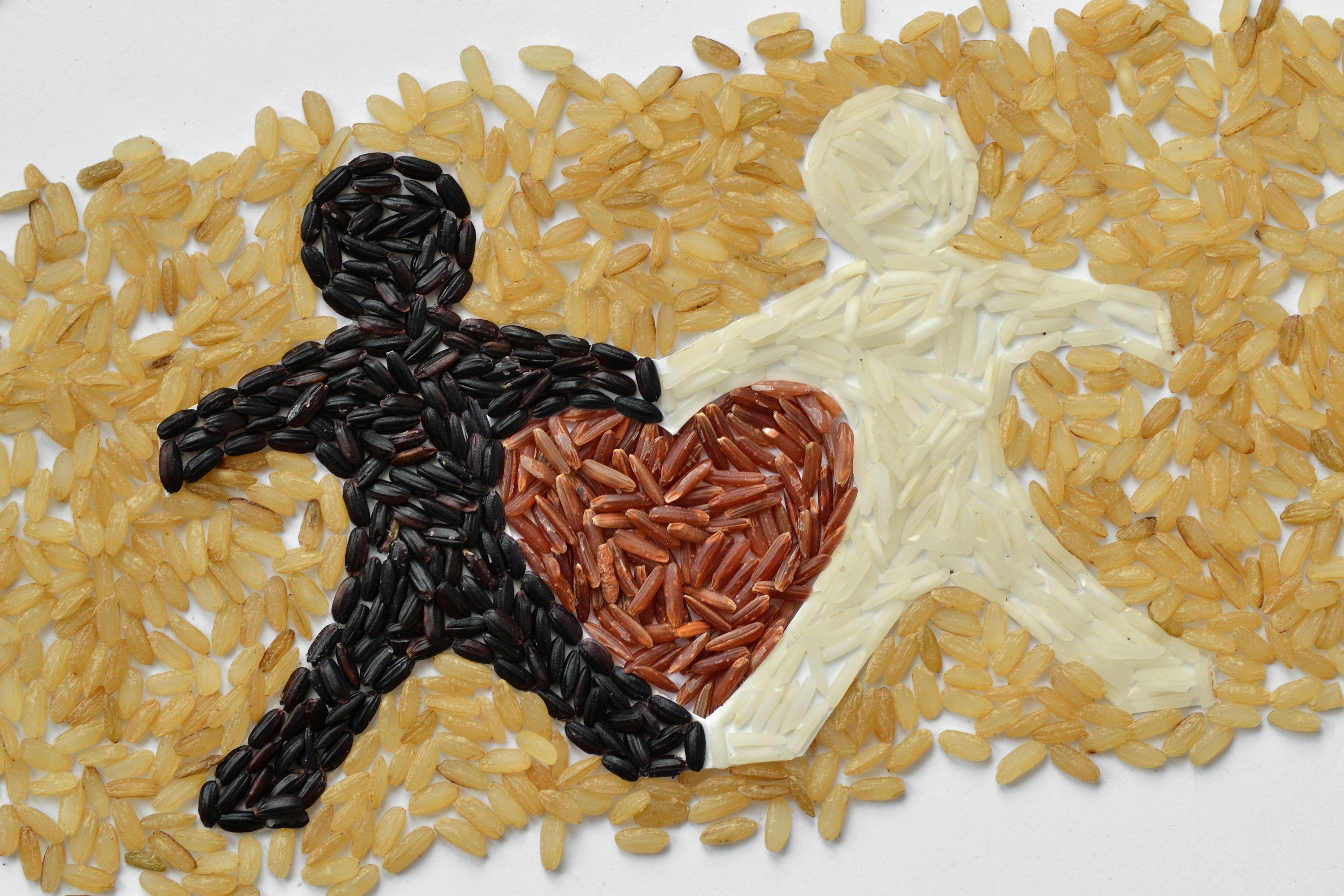 Verschiedenfarbige Reiskörner wurden zu einem Bild gelegt. Beige Reiskörner bilden Hintergrund. Aus dunklen und aus weißen Reiskörnern ist jeweils die Silhouette eines Männchens gelegt. Das dunkle und das helle Männchen stehen nebeneinander. Sie berühren sich mit den Händen und Füßen so, dass in dem daraus entstehenden Freiraum die Form eines Herzes entsteht. Das Herz wiederum ist aus roten Reiskörnern gelegt.