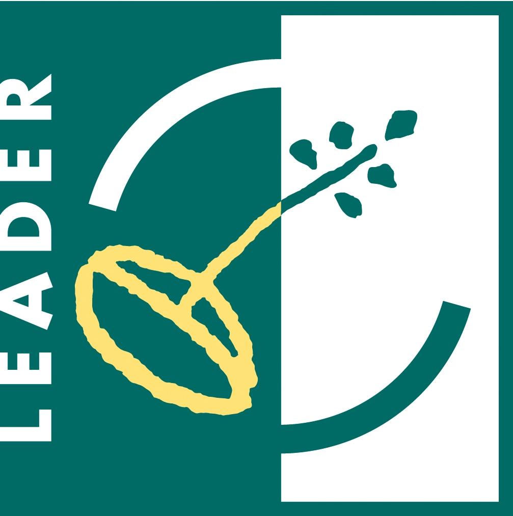 """Das Logo des Förderprogrammes LEADER ist in dunkelgrün und weiß gehalten. Am linken Bildrand steht in weißer Schrift auf dunkelgrünem Fond """"LEADER"""". Der Schriftzug verläuft vertikal. In der Mitte des Logos ist ein gelbes Saatkorn zu sehen, aus dem ein grüner Trieb sprießt. Dieser verläuft diagonal und endet auf weißem Fond in der rechten Hälfte des Logos."""