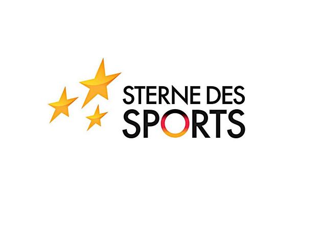 """Das Logo """"Sterne des Sports"""" zeigt drei goldene Sterne verschiedener Größe. Rechts neben den Sternen findet sich der Schriftzug """"Sterne des Sports"""". Dabei ist das """"O"""" des Wortes """"Sport"""" im Farbverlauf schwarz-rot-gold dargestellt."""