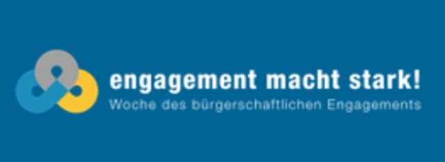 """Das Bild zeigt das Logo """"Engagment macht stark"""" zur Woche des bürgerschaftlichen Engagements."""