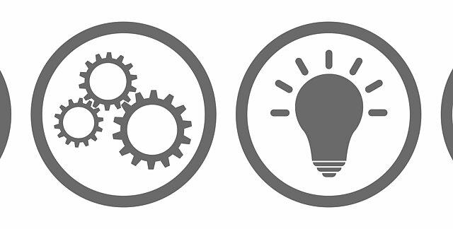 Auf dem Bild sind die Symbole für Fragezeichen, Zahnrad, Lampe, Information und Ausrufezeichen abgebildet.